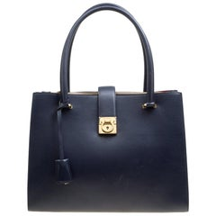 Salvatore Ferragamo Navy Blue Leather Marlene Tote