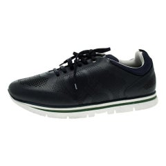 Salvatore Ferragamo Navy Blue Perforated Leather Mustang Sneakers Size 44.5