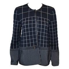 Salvatore Ferragamo Navy Blue Quilted Round Collar Jacket