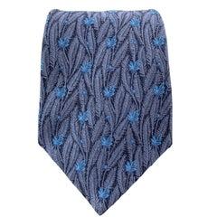 SALVATORE FERRAGAMO Navy Blue Silk Feather Texture Tie