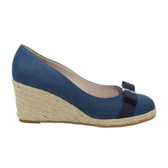 Salvatore Ferragamo Navy Canvas Wedges