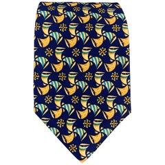 SALVATORE FERRAGAMO Navy & Gold Silk Print Tie