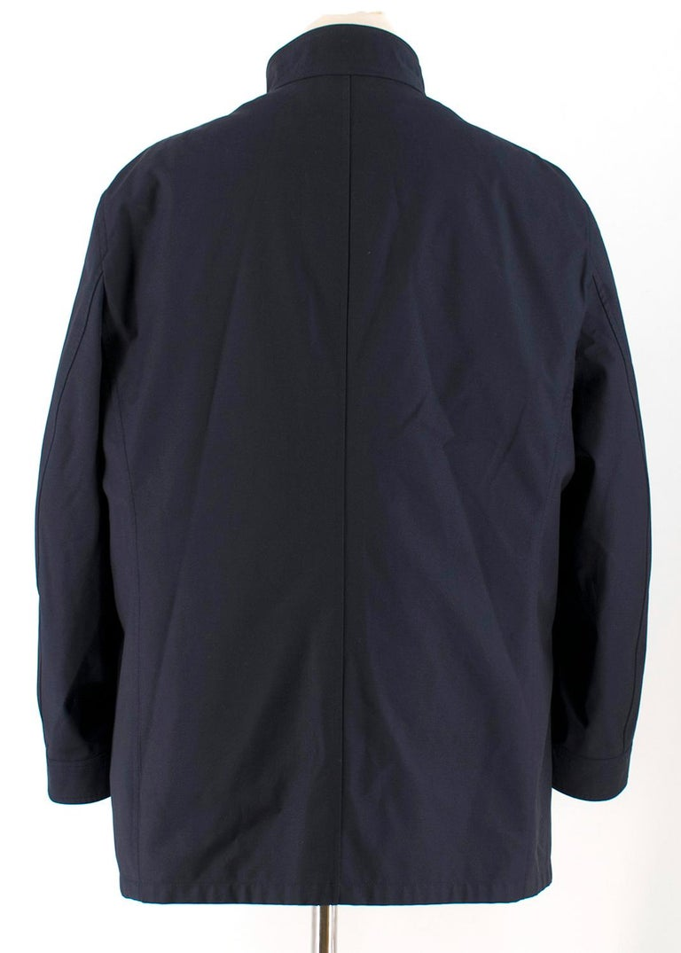 Black Salvatore Ferragamo Navy Padded Trench Coat SIZE 58 For Sale
