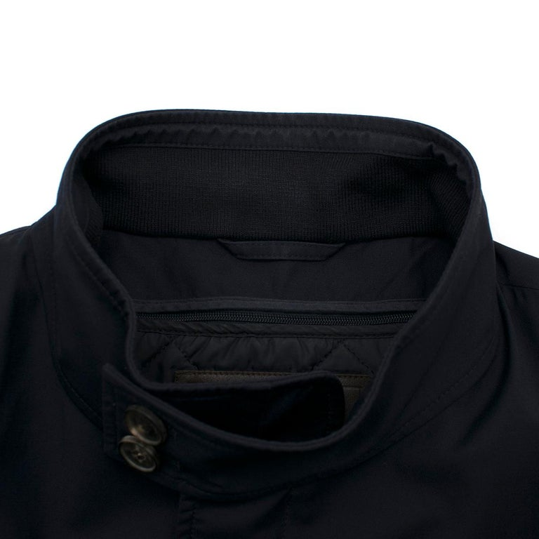 Salvatore Ferragamo Navy Padded Trench Coat SIZE 58 In Excellent Condition For Sale In London, GB