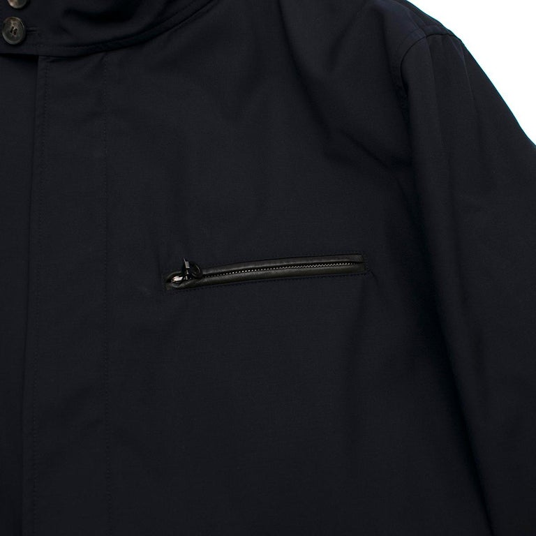 Salvatore Ferragamo Navy Padded Trench Coat SIZE 58 For Sale 2