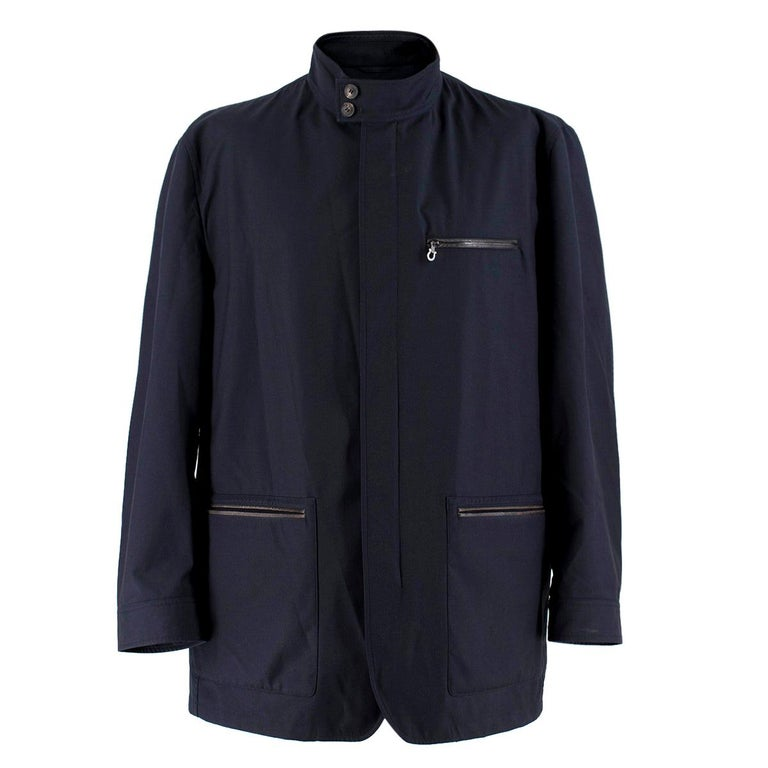 Salvatore Ferragamo Navy Padded Trench Coat SIZE 58 For Sale