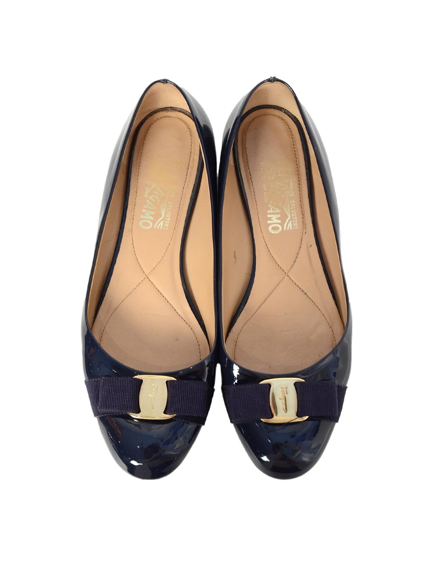 6aee55bf2 Salvatore Ferragamo Navy Patent Leather Bow Ballet Flats Sz 9.5 For Sale at  1stdibs