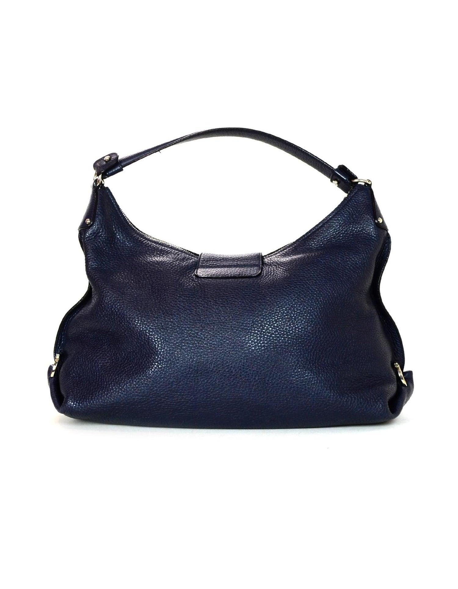 991bd1c74c27 Salvatore Ferragamo Navy Pebbled Leather Fanisa Mediterraneo Gancini Hobo  Bag For Sale at 1stdibs