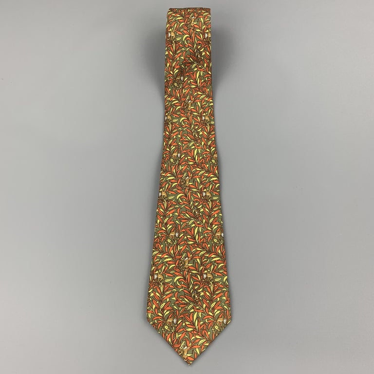 SALVATORE FERRAGAMO Olive Green & Orange Silk Monkey Print Tie In Good Condition For Sale In San Francisco, CA