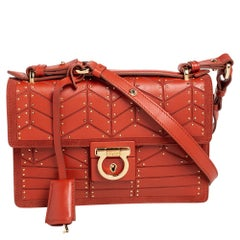 Salvatore Ferragamo Orange Leather and Suede Studded Aileen Shoulder Bag