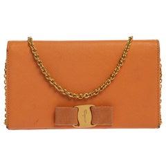 Salvatore Ferragamo Orange Leather Miss Vara Wallet On Chain