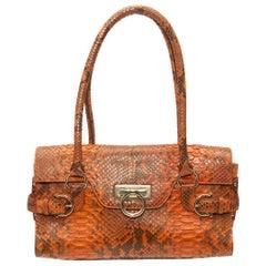 Salvatore Ferragamo Orange Python Handbag