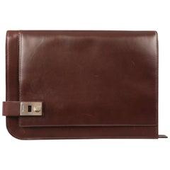 SALVATORE FERRAGAMO Oxblood Brown Leather Portfolio Briefcase