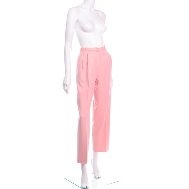 Salvatore Ferragamo Pants Pink Spring Summer Weight Wool High Waist Trousers In Excellent Condition In Portland, OR