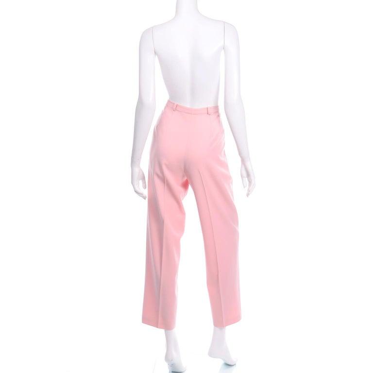 Women's Salvatore Ferragamo Pants Pink Spring Summer Weight Wool High Waist Trousers