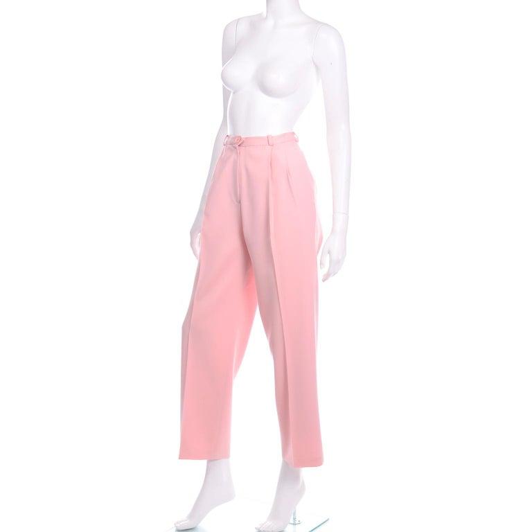 Salvatore Ferragamo Pants Pink Spring Summer Weight Wool High Waist Trousers 1