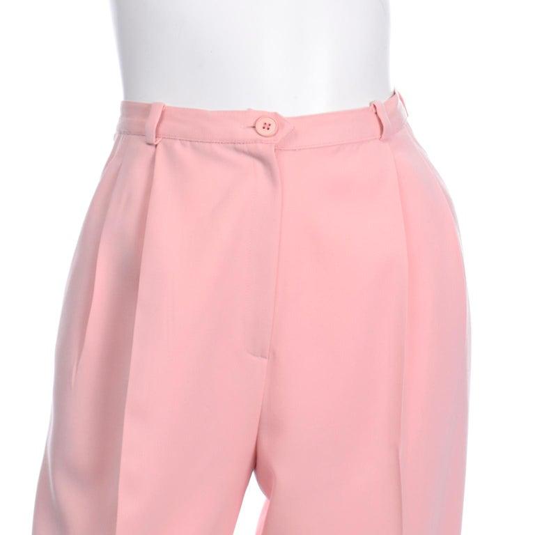 Salvatore Ferragamo Pants Pink Spring Summer Weight Wool High Waist Trousers 2
