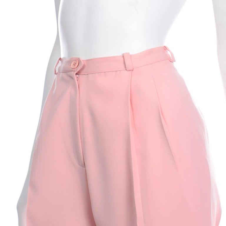 Salvatore Ferragamo Pants Pink Spring Summer Weight Wool High Waist Trousers 3