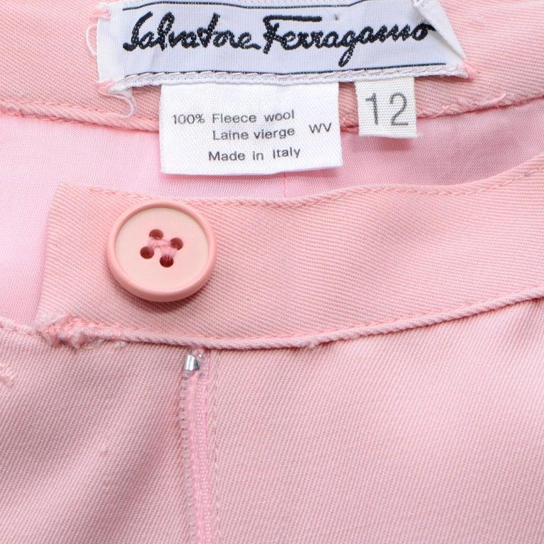 Salvatore Ferragamo Pants Pink Spring Summer Weight Wool High Waist Trousers 4