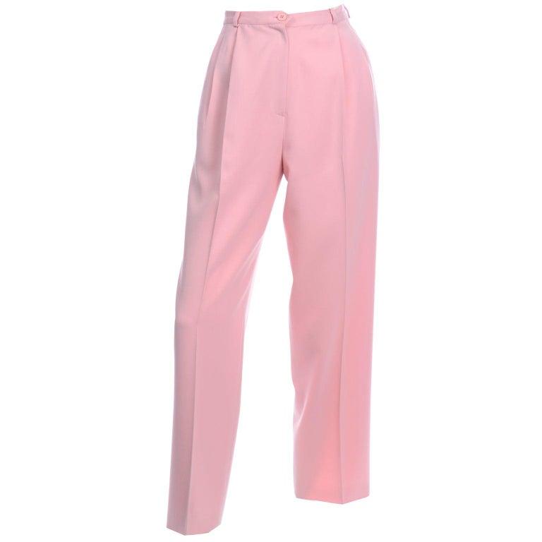 Salvatore Ferragamo Pants Pink Spring Summer Weight Wool High Waist Trousers