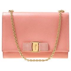 Salvatore Ferragamo Peach Leather Vara Bow Chain Clutch
