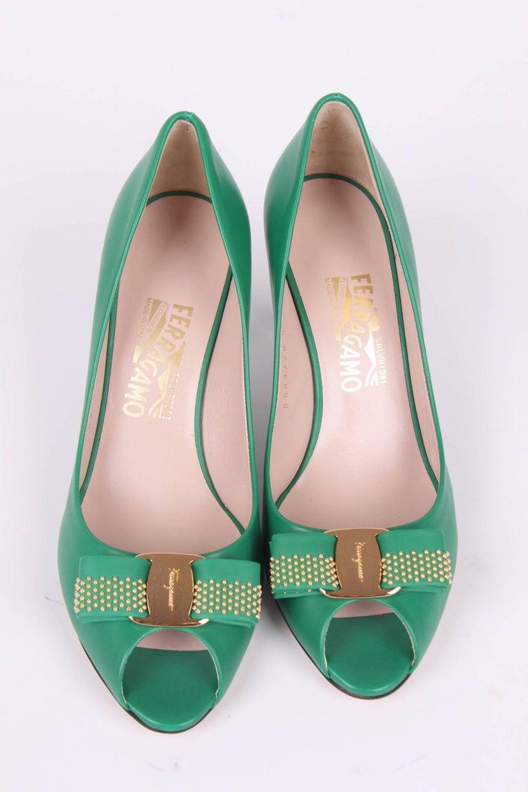 5e6913c5b Green Salvatore Ferragamo green leather Peep Toe Pumps For Sale