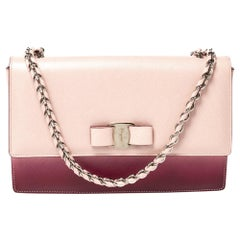 Salvatore Ferragamo Pink/Burgundy Ombre Leather Ginny Shoulder Bag