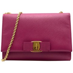 Salvatore Ferragamo Pink Leather Medium Ginny Shoulder Bag
