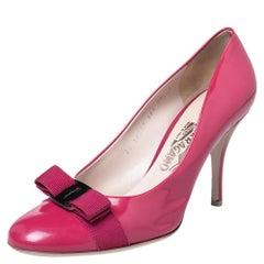 Salvatore Ferragamo Pink Leather Vara Bow Pumps Size 40.5