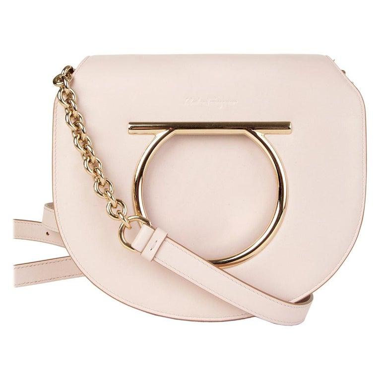 SALVATORE FERRAGAMO pink leather VELA Shoulder Bag For Sale