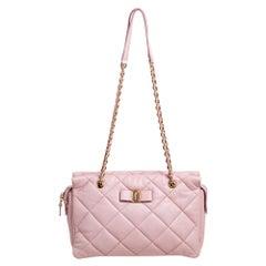 Salvatore Ferragamo Pink Quilted Leather Bow Zip Genette Shoulder Bag