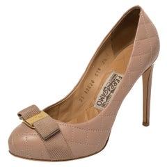 Salvatore Ferragamo Pink Quilted Leather Vara Bow Platform Pumps Size 38