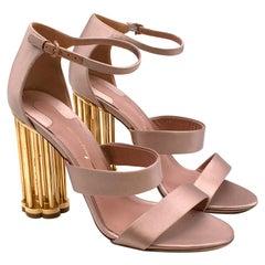 Salvatore Ferragamo Pink Satin Daiano Column-heel Sandals - Size EU 40 - 10C
