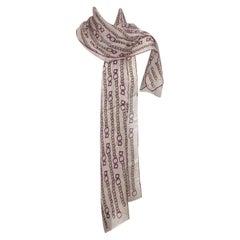 Salvatore Ferragamo Pink Silk Catena Chain Oblong Scarf