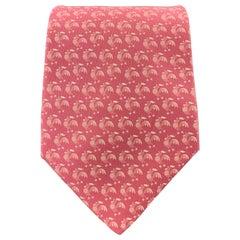 SALVATORE FERRAGAMO Pink Silk Rooster Print Tie