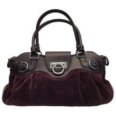 Salvatore Ferragamo Plum Suede and Leather Shoulder Bag