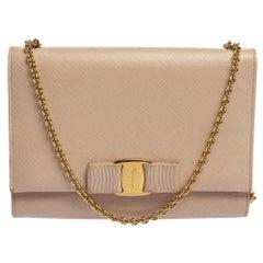 Salvatore Ferragamo Powder Pink Leather Vara Bow Chain Shoulder Bag