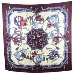 Salvatore Ferragamo Purple Grace Silk Scarf 90 x 90