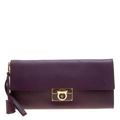Salvatore Ferragamo Purple Leather Afef Gancio Clutch