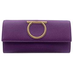 Salvatore Ferragamo Purple Leather Gancino Continental Wallet Purse