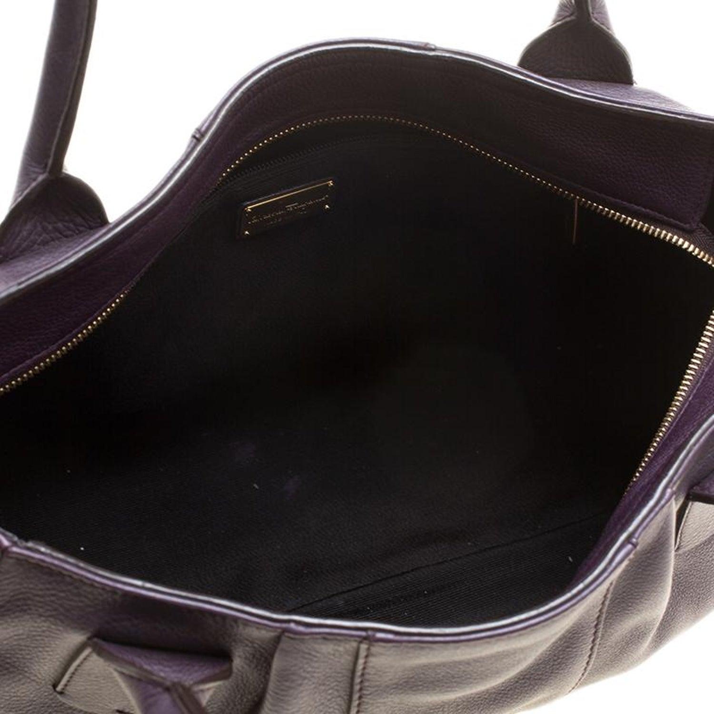 c23c92063e Salvatore Ferragamo Purple Leather Logo Tote For Sale at 1stdibs
