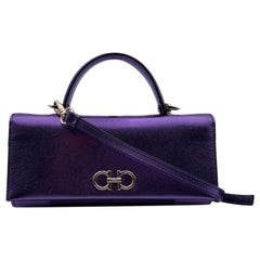 Salvatore Ferragamo Purple Leather The Gancini Mini Bag WOC