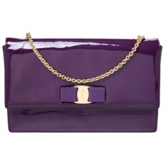 Salvatore Ferragamo Purple Patent Leather Miss Vara Shoulder Bag