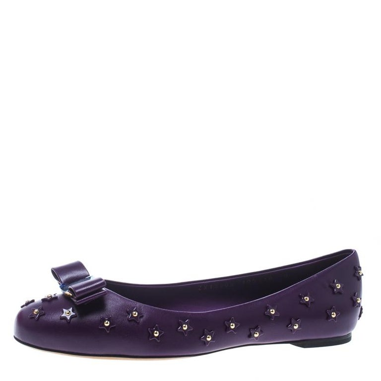 e1f411b2b5367 Salvatore Ferragamo Purple Studded Leather Varina Sky Bow Ballet Flats Size  40.5 For Sale