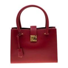 Salvatore Ferragamo Red Leather Gancini Lock Tote