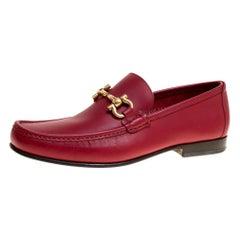Salvatore Ferragamo Red Leather Giordano Moccassins Size 41.5