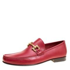 Salvatore Ferragamo Red Leather Giordano Moccassins Size 44.5