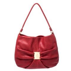 Salvatore Ferragamo Red Leather Miss Vara Guisy Hobo