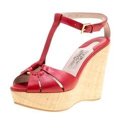 Salvatore Ferragamo Red Leather T-Strap Platform Wedge Sandals Size 37.5