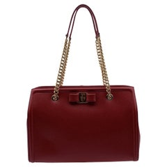 Salvatore Ferragamo Red Leather Vara Bow Melike Mint Tote Bag